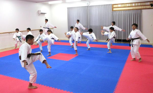 J2クラス体操。緑帯の子供たちも一緒に稽古。