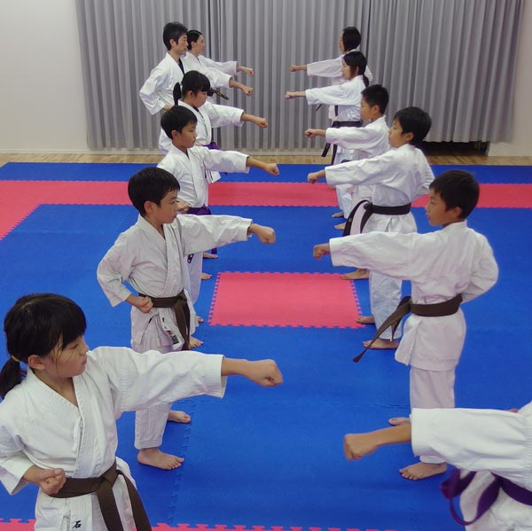 向かい2列になり、目標を置いて正拳中段突くの稽古。